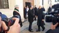 Il governatore della Lombardia Fontana accoglie il presidente della Repubblica Mattarella