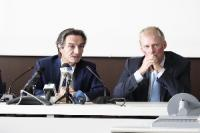 Il presidente della Regione Lombardia Attilio Fontana ed il presidente del Consiglio di Stato del Cantone Ticino Claudio Zali (da sinistra)