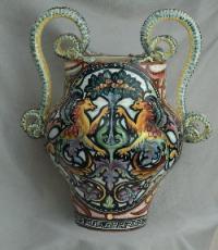 Mario Figini, Ceramica di Ghirla 1925-1935 ca. Grande Vaso a balaustro con ampie anse serpentiformi