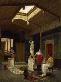 mostra Pompei Chiasso-FOTO: Luigi Bazzani, Interno pompeiano, Roma, 1882, olio su pannello in legno, 71,2x53,6 cm., Dahesh Museum of Art, New York.