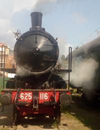"Rinascita locomotiva 625116, detta ""Signorina""_2019, foto Associazione Verbano Express"