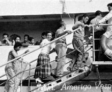in partenza per il Costa Rica sull'Amerigo Vespucci_1956; foto Santuario Oropa