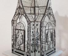 Postnikova. Crystal house. La casetta di cristal lo. 33x33xh43 Stained glass. Vetrata, foto mostra Museo del paesaggio.