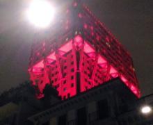 Salone del Mobile 2016 - Torre Velasca in rosso - Ingo Maurer
